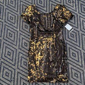 Molly Sequin Gold Mini Dress